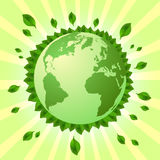 Postcard on April 22 - Earth day. Globe with green leaves around on striped background. Vector illustration Royalty Free Stock Photography