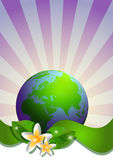 Postcard on April 22 - Earth day. Globe with green ribbon and narcissus on striped background Royalty Free Stock Photography