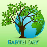 Postcard on April 22 - Earth day. Globe with green tree on green Stock Photo