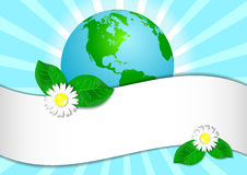 Postcard on April 22 - Earth day. Globe with sticker for text Stock Photography