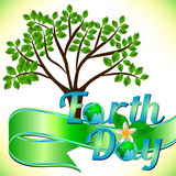 Postcard on April 22 - Earth day with green ribbon and spring tree Stock Photography
