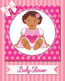 Postcard of baby shower with cute girl on pink background. Postcard of african baby shower with cute nice girl on pink background Royalty Free Stock Photography