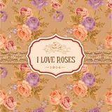 Postcard or background with roses Royalty Free Stock Photos
