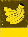 Postcard with bananas. In grunge style Stock Images