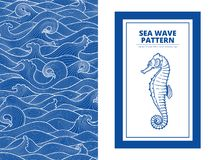 Postcard banner monotone blue sea waves and the seahorse. ? graphic style, a sketch, monospaced pattern Royalty Free Stock Photos