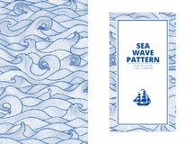 Postcard banner monotone blue sea waves and the ship. Graphic style, a sketch, monospaced pattern stock illustration