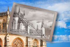Postcard of Batalha cathedral in Portugal Royalty Free Stock Image