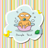 Postcard with bathing baby Royalty Free Stock Images
