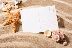 Postcard from beach. Holiday beach concept with shells, seastars and an blank postcard Stock Photography