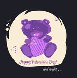 Postcard with a bear cub. A small bear is a toy. Valentine`s Day is a holiday letter. Heart and bear cartoon and cute images, imi Stock Photography