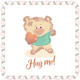 A small bear is a toy. Valentine`s Day is a holiday letter. Heart and bear cartoon and cute images, imitation stitched from cloth Stock Photo