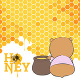 Postcard with a bear and honey. A cute bear sits next to a pot of honey Stock Photos