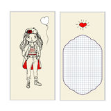 Postcard beautiful girl, place for messages royalty free illustration