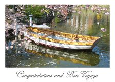 Postcard with a beautiful view of a wooden boat in Copenhagen in Denmark surrounded by a sea of flowers in a small lake stock photography
