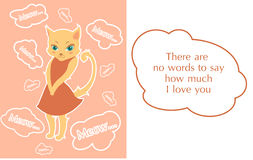 Postcard with beutiful shy kitty. Cartoon style illustrated postcard with cute shy kitty stock illustration