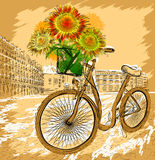 Postcard with bicycle and sunflowers Royalty Free Stock Photo