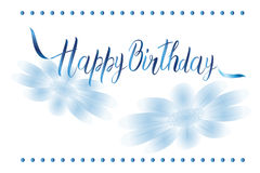 Postcard with a birthday sign and flowers in white and blue tones Stock Photo