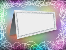 Postcard. Blank card in a beautiful frame on a colorful background with curved lines Royalty Free Stock Photography