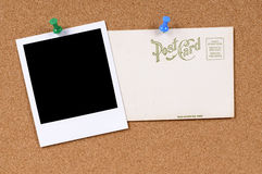 Post card blank polaroid photo frame copy space Stock Images