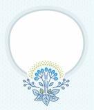 Postcard, blue frame, blue flower. Stock Image