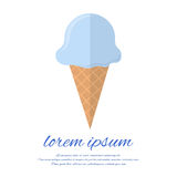 Postcard with blue ice cream in a flat style Stock Photography