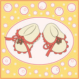 Postcard booties. Booties on a yellow background. Card royalty free illustration