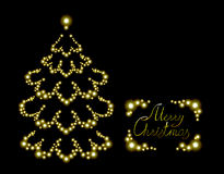 Postcard with brilliant Christmas tree. EPS10. Vector illustration Royalty Free Stock Images