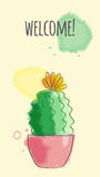 Postcard with cactus Royalty Free Stock Photography