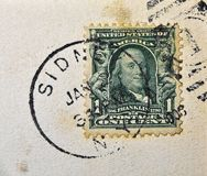 Sidney New York Postmark. A postcard cancellation from Sidney New York. This image could illustrate travel, tourism, philately or scrapbooking royalty free stock image