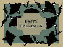 Postcard with the caption Happy Halloween in retro style Stock Photo