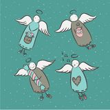 Postcard with cartoon angels Royalty Free Stock Images