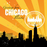 Postcard Chicago. Vintage postcard with name of Illinois, Chicago Stock Photography