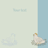 Postcard with chicken and eggs. Vector card for yor caption. Write text here. Royalty Free Stock Images