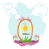 Postcard with a chicken on the swing. On the background of blue sky with grass and flowers for congratulations. Vector illustration Royalty Free Stock Photo