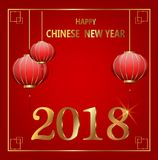 Postcard Chinese New Year Lanterns and golden letters. Vector illustration on red background royalty free illustration