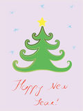Postcard with a chrismass-tree. Royalty Free Stock Photos