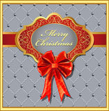 Postcard Christmas background with a bow nt Royalty Free Stock Images