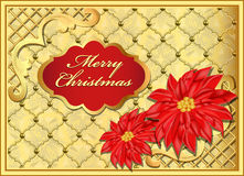 Postcard Christmas background with flowers Royalty Free Stock Photography