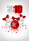 Postcard with christmas balls. Vectorial postcard to a new year with white and red christmas balls. Mesh gradient Stock Photos
