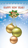 Postcard with Christmas balls and bells.   Postcard with Christmas balls and bells. Gold design Royalty Free Stock Photo