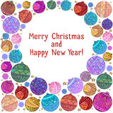 Postcard with Christmas balls decorated with doodle pattern Royalty Free Stock Photo