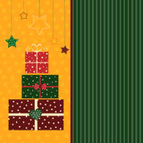 Postcard. Christmas card with gift boxes in bright colors Royalty Free Stock Image