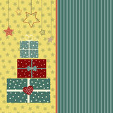 Postcard. Christmas card with gift boxes in pastel shades Stock Photography