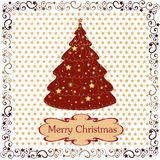 Postcard with Christmas. Christmas frame, ornamental tree Royalty Free Stock Photos