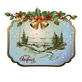 Postcard with Christmas landscape Stock Photos