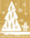 Postcard, Christmas, New Year, North, child, Christmas tree, Golden background. Royalty Free Stock Image
