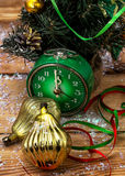 Postcard with Christmas ornaments Royalty Free Stock Photography