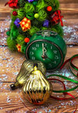 Postcard with Christmas ornaments Stock Image