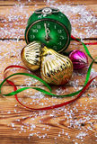 Postcard with Christmas ornaments Stock Photo