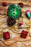 Postcard with Christmas ornaments Royalty Free Stock Image